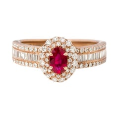 18 Karat Rose Gold Ruby and Diamond Double Cluster Band Ring