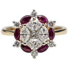 18 Karat Rose Gold Ruby and Diamond Fashion Ring