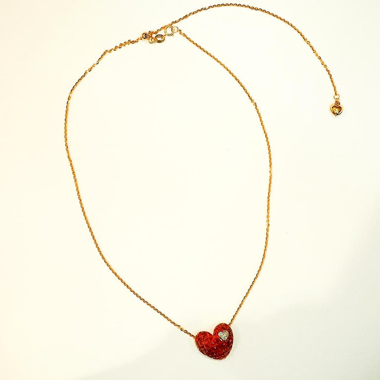 Modern 18 Karat Rose Gold Ruby and Diamond Heart Pendant Invisible Setting For Sale