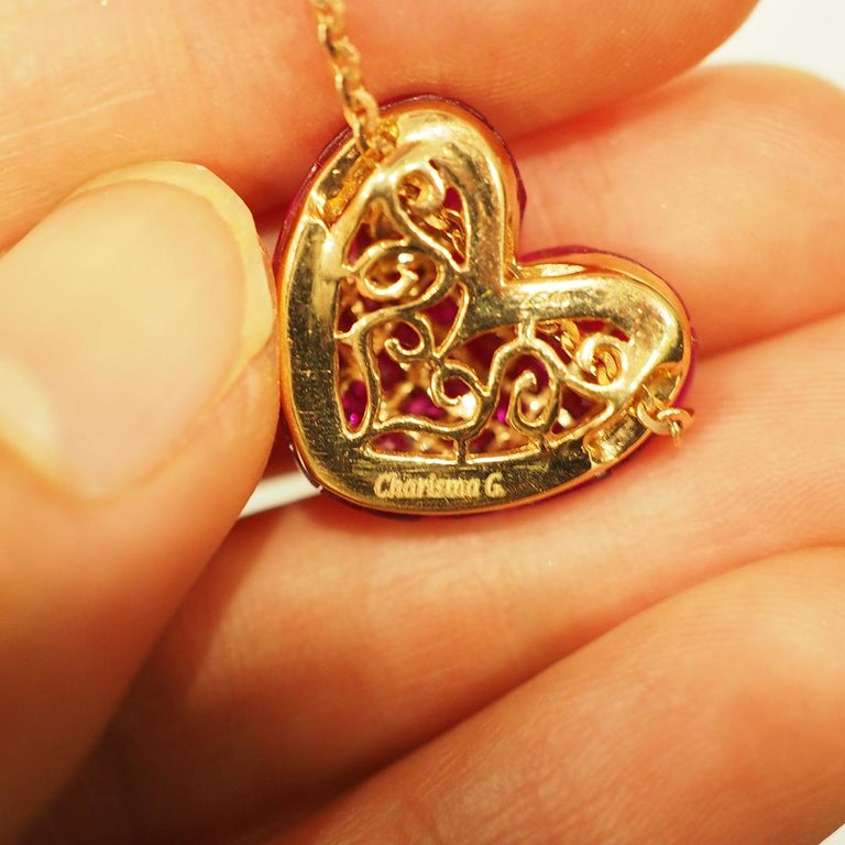 18 Karat Rose Gold Ruby and Diamond Heart Pendant Invisible Setting In New Condition For Sale In Bangkok, TH