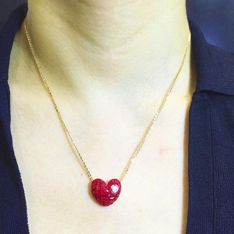 18 Karat Rose Gold Ruby and Diamond Heart Pendant Invisible Setting For Sale 2