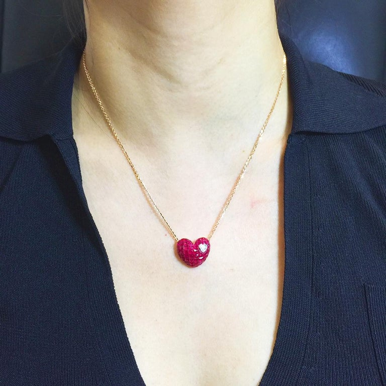 18 Karat Rose Gold Ruby and Diamond Heart Pendant Invisible Setting For Sale 3