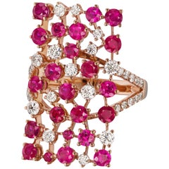 18 Karat Rose Gold Ruby and Diamond Split Shank Ring