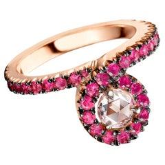 18 Karat Rose Gold Ruby and Light Pink Rose-Cut Diamond Entourage Stacking Ring