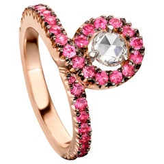 18 Karat Rose Gold Ruby and Rose-Cut Diamond Entourage Ring