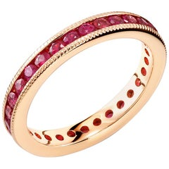 Eighteen Karats Rose Gold Ruby Eternity Band Milgrain Edge Weighing 1.90 Carat