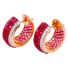 18 Karat Rose Gold Ruby Hoop Earrings
