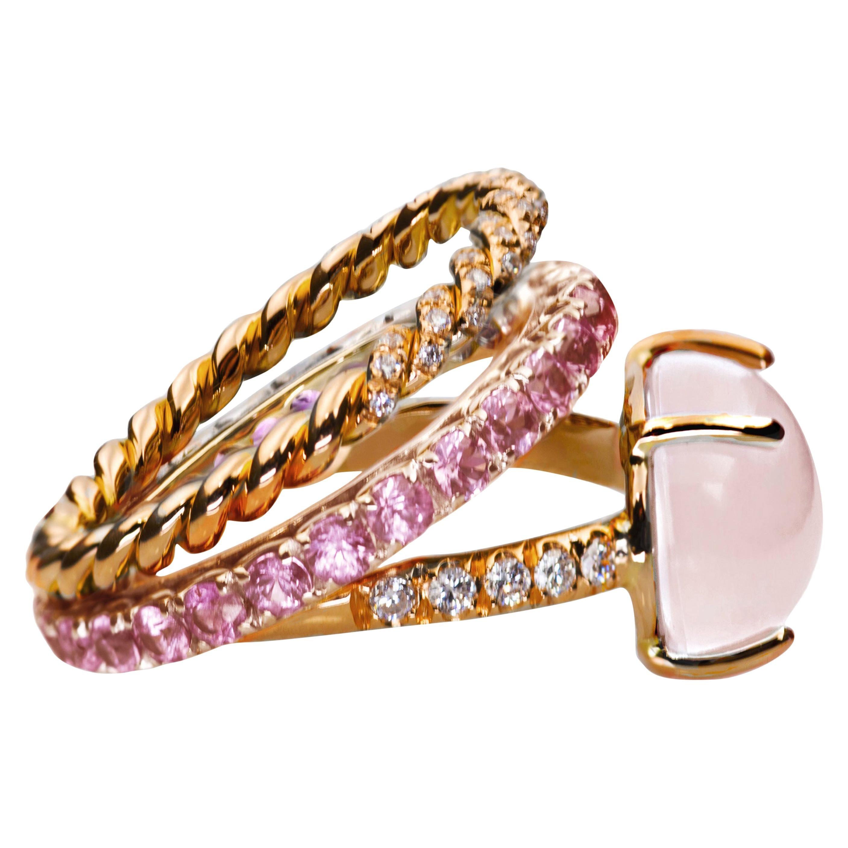 18Karat Rose Gold 3Karat Sapphire Quartz White Diamond Design Deco Cocktail Ring