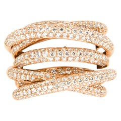 18 Karat Rose Gold Seven Row Micro Pave Diamond Ring