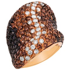 18 Karat Rose Gold Shaded White Brown Black Diamond Curved Cocktail Ring