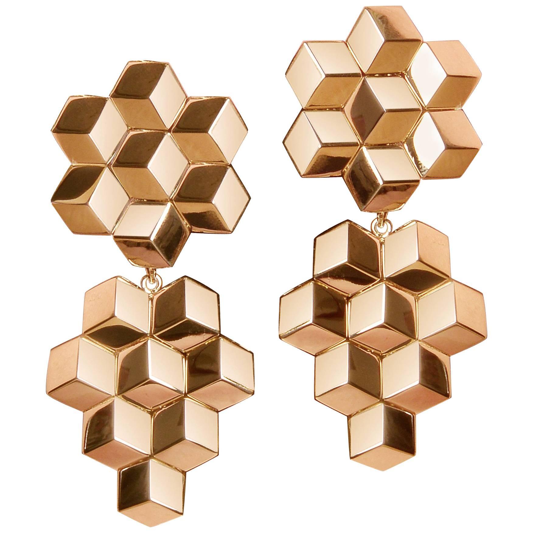 Paolo Costagli 18 Karat Rose Gold Signature Brillante Earrings, Grande