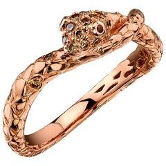 18 Karat Rose Gold Snake Diamond Ring
