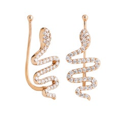 18 Karat Rose Gold Snake with 54 White Diamonds 0.33 Carat Ear Cuff Earrings