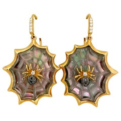 18 Karat Rose Gold Spider Web Earrings with Black Mother of Pearl and Diamonds