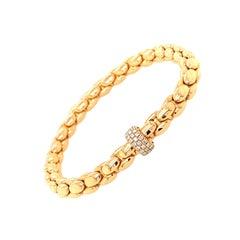 18 Karat Rose Gold Stretch Link Bracelet with Diamond Pave Rondele