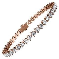 18 Karat Rose Gold Three Prongs Diamond Tennis Bracelet '7 Carat'