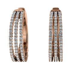 18 Karat Rose Gold Three-Row Hoop Diamond Earrings '1 1/2 Carat'
