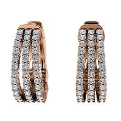 18 Karat Rose Gold Three-Row Hoop Diamond Earrings '1 Carat'