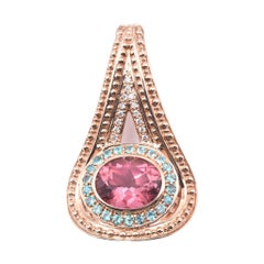 18 Karat Rose Gold Tourmaline and Diamond Pendant