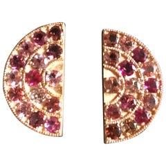 18 Karat Rose Gold Tourmaline Big Fan Earrings