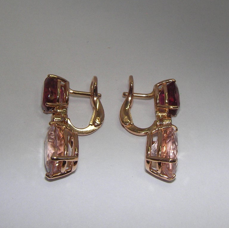 18 Karat Rosé Gold Tourmaline Morganite Diamond Dangle Earrings In New Condition For Sale In Duesseldorf, DK
