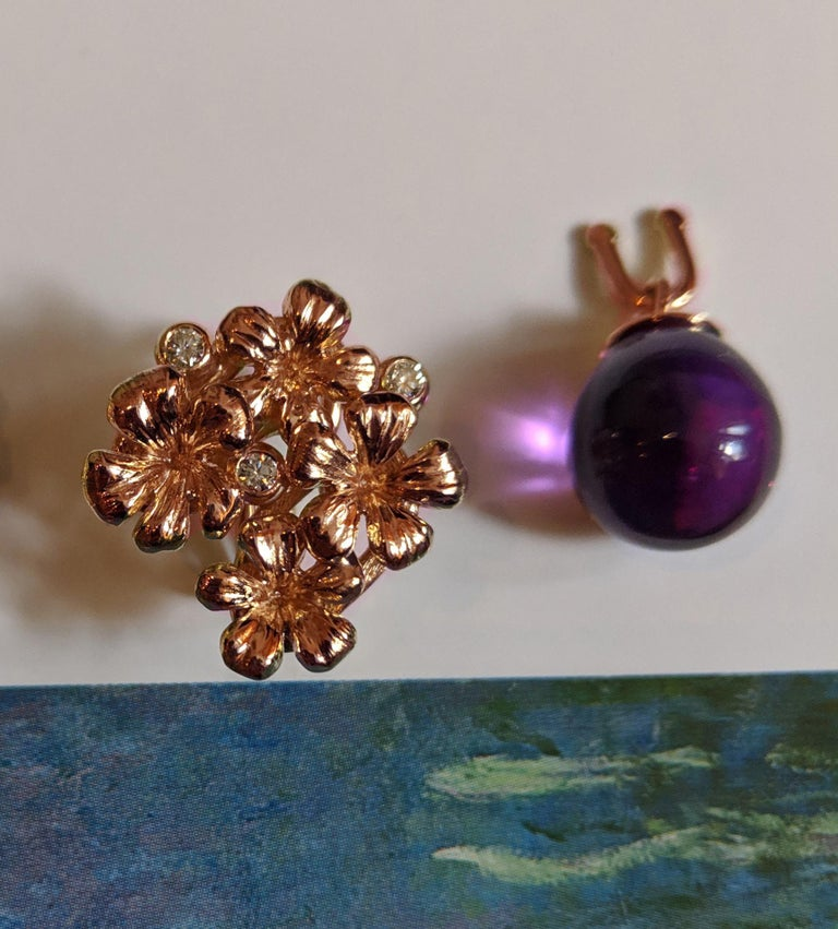 Round Cut 18 Karat Rose Gold Transformer Plum Blossom Brooch with Diamonds and Amethyst For Sale