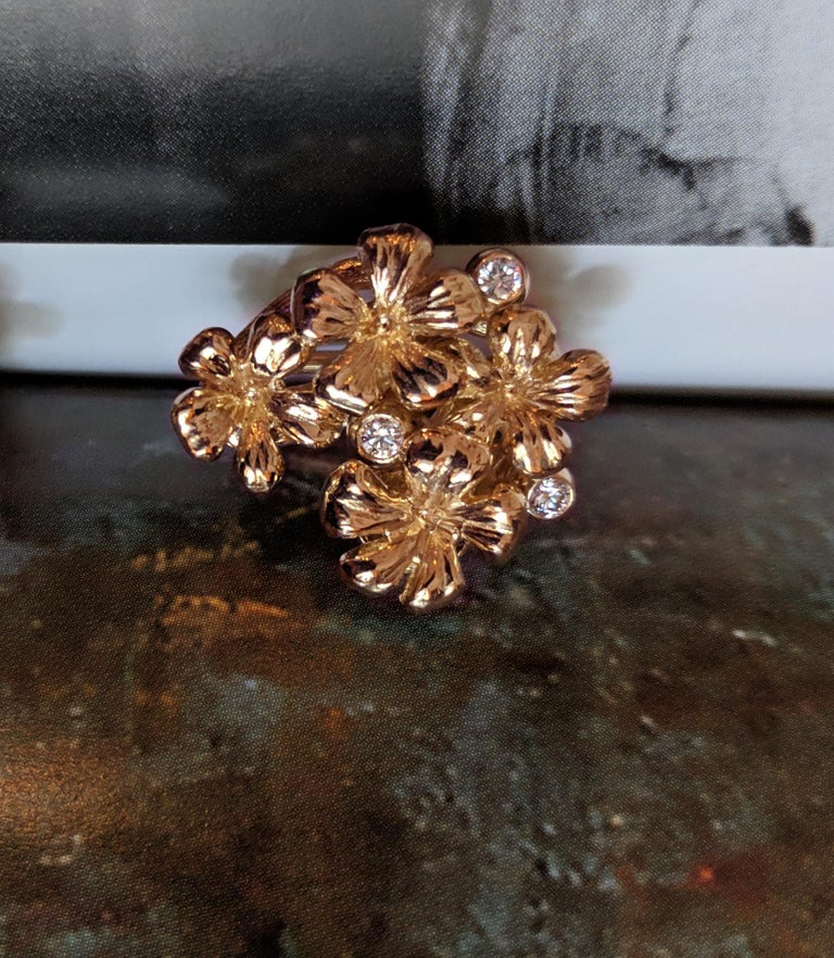Women's or Men's 18 Karat Rose Gold Transformer Plum Blossom Brooch with Diamonds and Amethyst For Sale