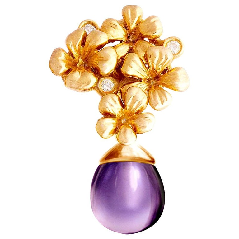 18 Karat Rose Gold Transformer Plum Blossom Brooch with Diamonds and Amethyst For Sale
