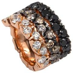 18 Karat Rose Gold Tricolor Diamonds Coil Garavelli Ring