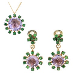 18 Karat Rose Gold Tsavorite and Amethyst Garavelli Earrings Necklace Set