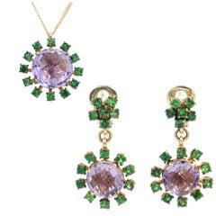 18 Karat Rose Gold Tsavorite and Amethyst Garavelli Earrings Necklace Set