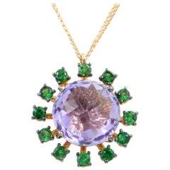 18 Karat Rose Gold Tsavorite and Amethyst Garavelli Pendant Necklace