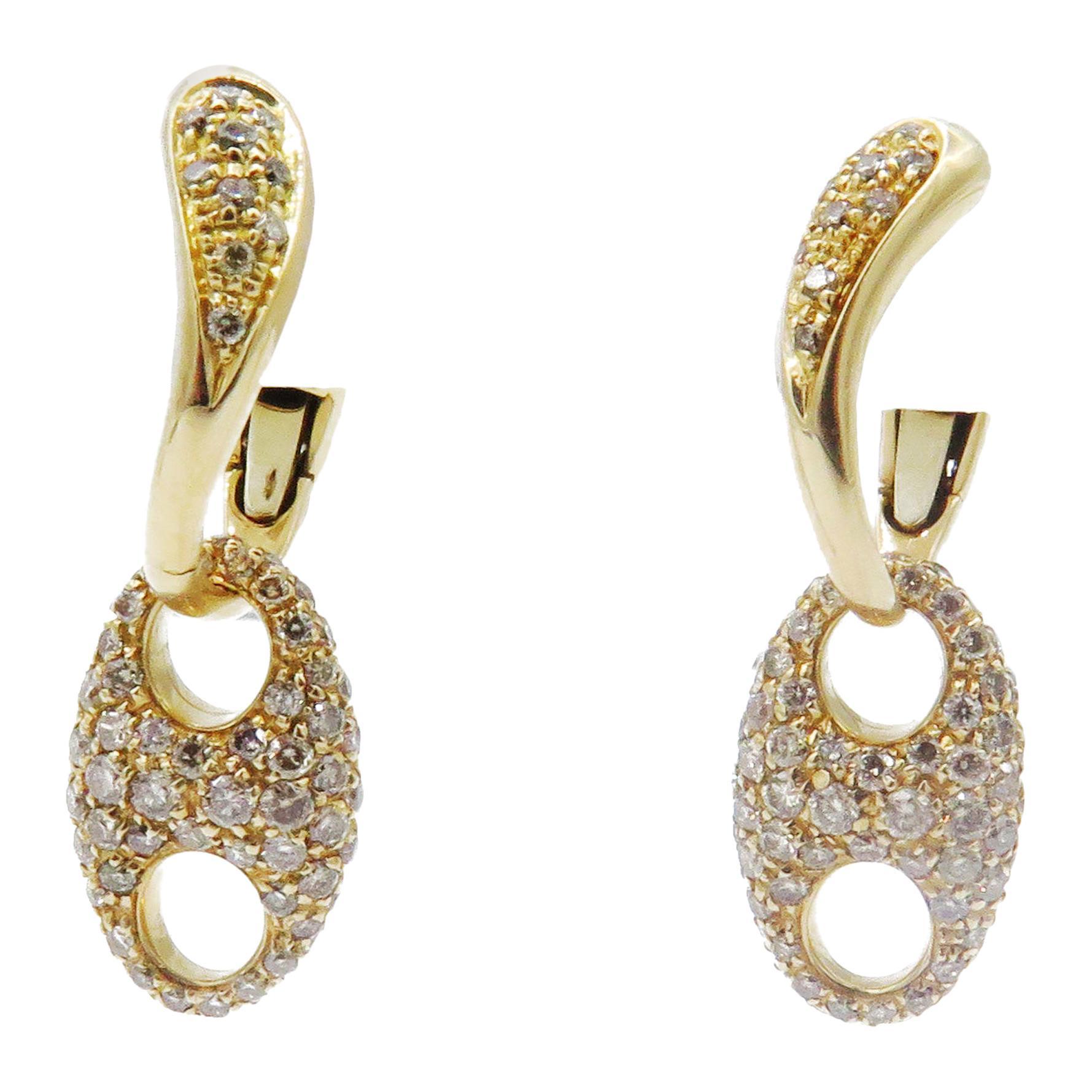 "18 Karat Rose Gold Valente Diamond ""Marina"" Collection Dangle Earrings"