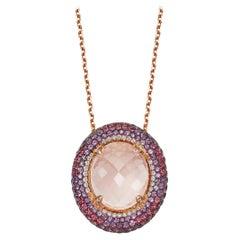18 Karat Rose Gold Venice Pink Quartz Amethyst and Rubellite Pendant