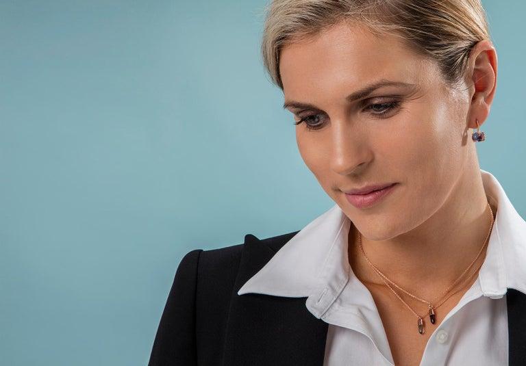 18 Karat Rose Gold Vermeil Champagne Quartz, Gold Drop Long Modern Earrings In New Condition In , GB