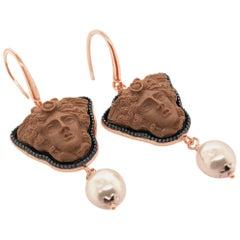 18 Karat Rose Gold Vermeil Greek Medusa Cameo Earrings