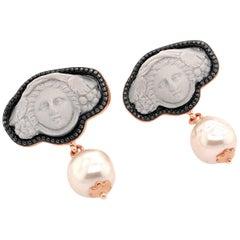 18 Karat Rose Gold Vermeil Greek Medusa Lava Cameo Earrings