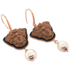 18 Karat Rose Gold Vermeil Greek Medusa Lava Cameo Earrings