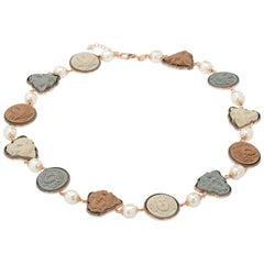 18 Karat Rose Gold Vermeil Greek Medusa Lava Cameo Necklace