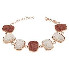 18 Karat Rose Gold Vermeil Woman Wearing Fruit Hair Ornament Cameo Bracelet