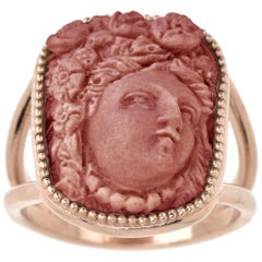 18 Karat Rose Gold Vermeil Woman Wearing Fruit Hair Ornament Lava Cameo Ring