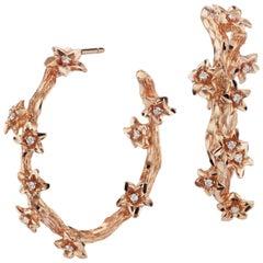 18 Karat Rose Gold Vine Hoop Earrings with Diamond Accents
