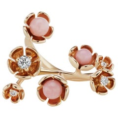 18 Karat Rose Gold Vine Ring with Pink Opal and Diamond Accent