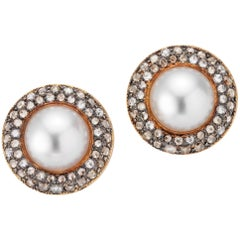 18 Karat Rose Gold Vintage Style South Sea Pearl Clip on Earrings