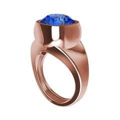 18 Karat Rose Gold Vivid Cushion Cut Blue Sapphire Unisex Sculpture Ring