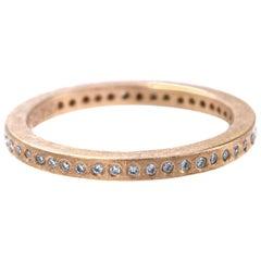 18 Karat Rose Gold White Brilliant Diamond Band Ring