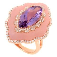 18 Karat Rose Gold White Diamond, Amethyst, and Pink Quartz Ring