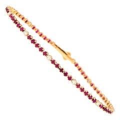 18 Karat Rose Gold, White Diamond and Red Ruby Tennis Bracelet by Alessa Jewelry