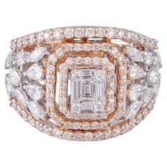 18 Karat Rose Gold White Diamond Cocktail Ring