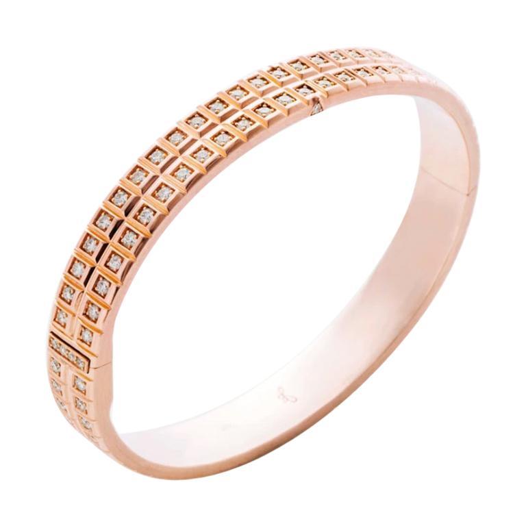 18 Karat Rose Gold White Diamond Double Carousel Bracelet
